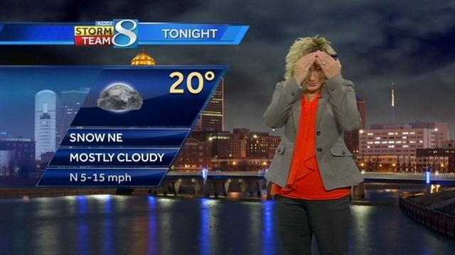A studio light blows out during a live weather segment Sunday morning on KCCI-TV.