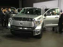 The media gets a close look at the 2014 Toyota Tundra.