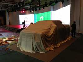 The 2014 Toyota Tundra about to be unveiled.
