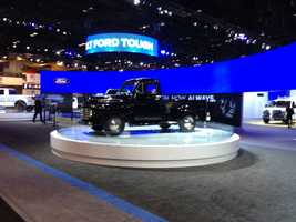 The Ford truck display looks back to the past.