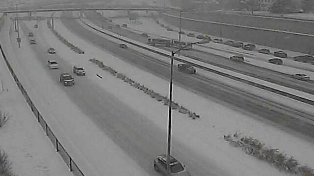 A metro bus blocks I-235 near East 14 St. about 9:45 a.m.