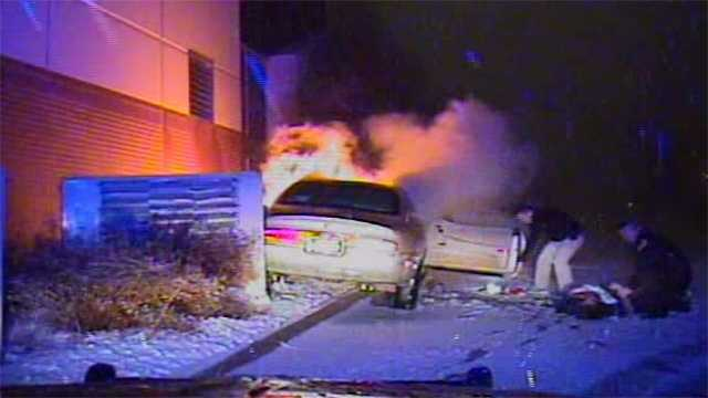 Car bursts into flames after crashing into Urbandale church.