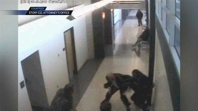 Two Story County prosecutors were attacked in the Story County Courthouse, and it was all captured on camera.