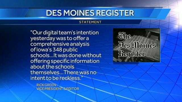 The Des Moines Register is responding to national criticism for posting an online map of Iowa schools that did not have resource officers.
