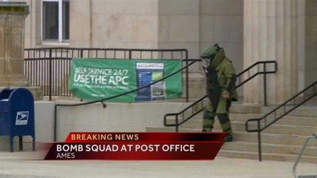 Police and fire crews surrounded the post office in Ames after a suspicious bag was found in the lobby.