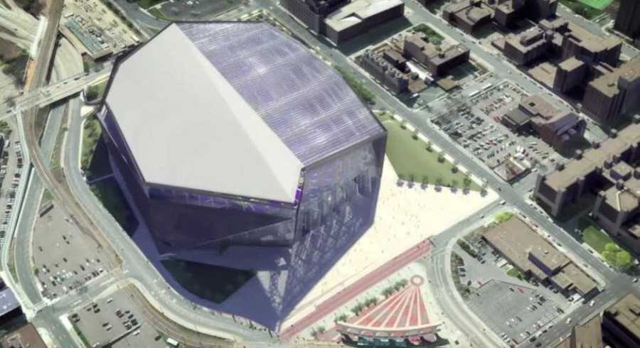 Designer Bryan Trubey of Dallas-based HKS Architects presented images of the $975 million project to a crowd of fans, public officials and members of the Vikings organization Monday night.