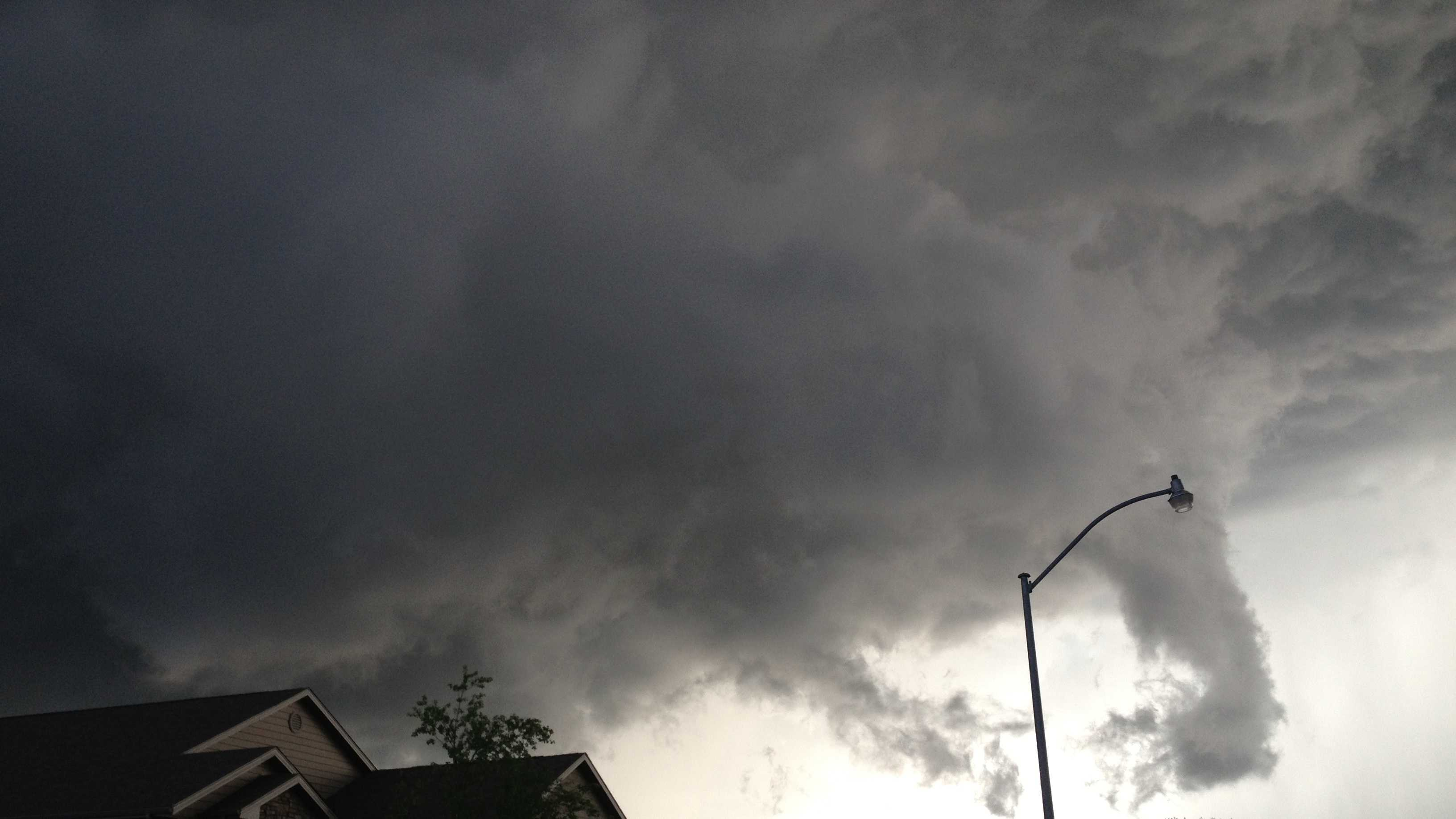 Funnel cloud photographed by Kory Holm near Ankeny.