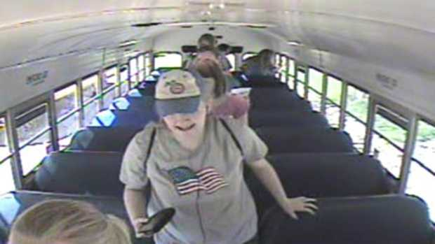 Law enforcement officials release a photo of Kathlynn Shepard leaving her school bus the day of the abduction.