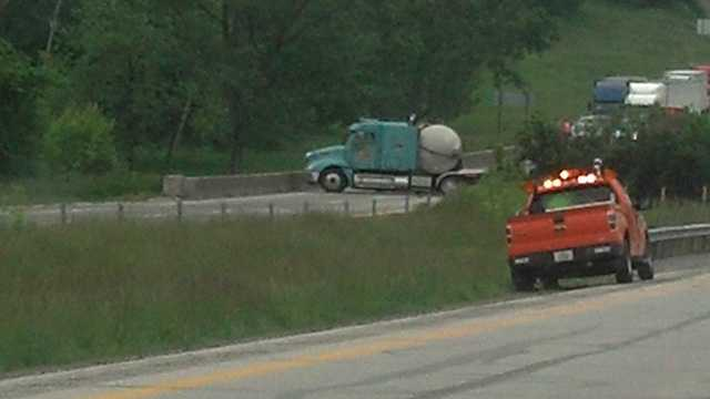 Semi crash on I-80 between Van Meter and De Soto exits.