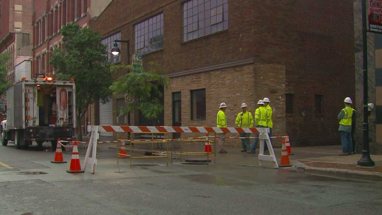 Explosions were reported in downtown Des Moines early Wednesday.  The underground blasts caused damage and blew off manhole covers.