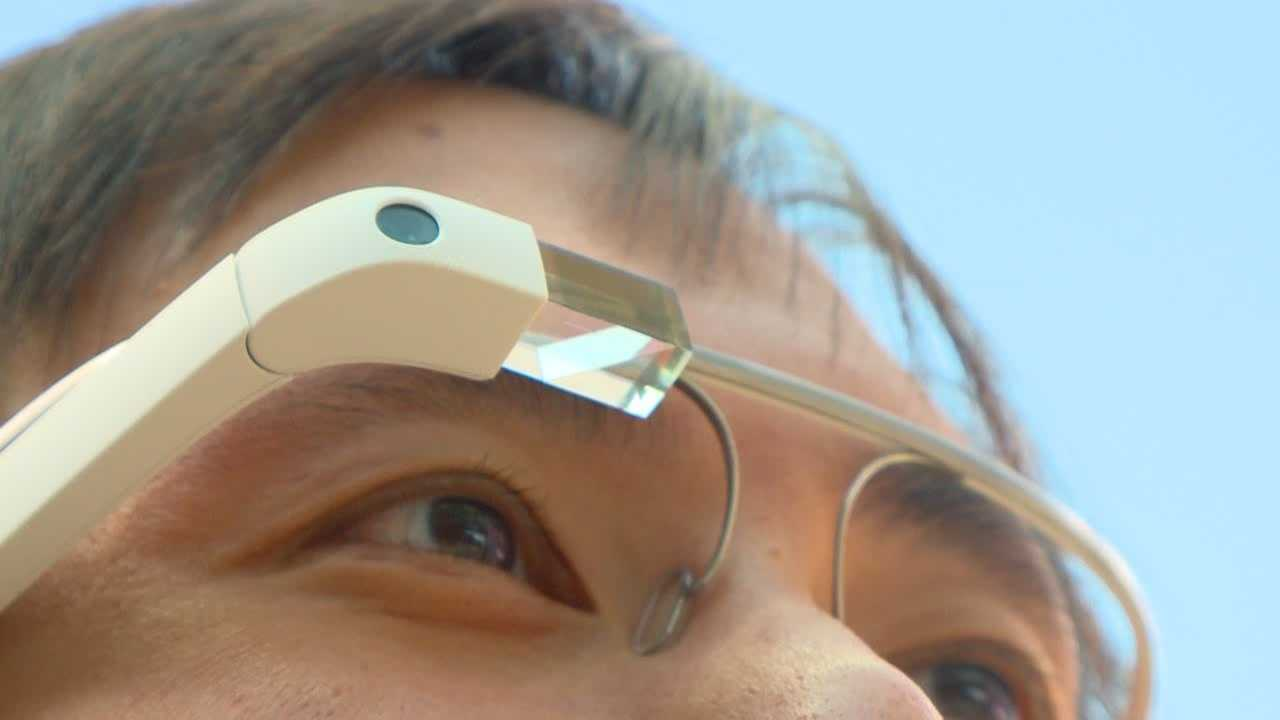 Google Glass is a wearable computer with a small screen just above the right eye.