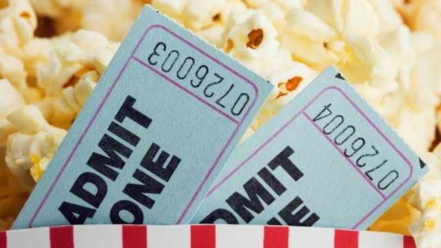 Movie tickets, popcorn