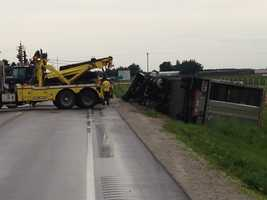 Semi pushed over by thunderstorm winds on Highway 141 near Bayard.