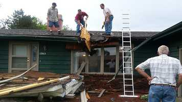 Damage to house in Story City.