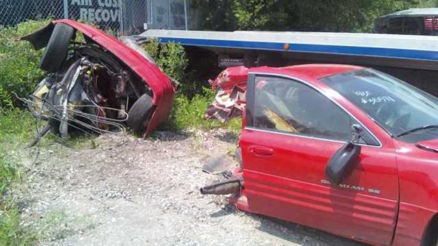The two parts of the car, a day after the crash.