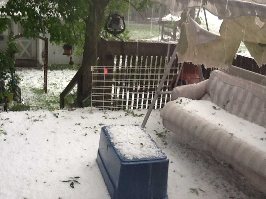 Hail covers deck in Corydon.