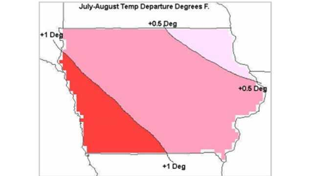 July-August temperature departure in F.