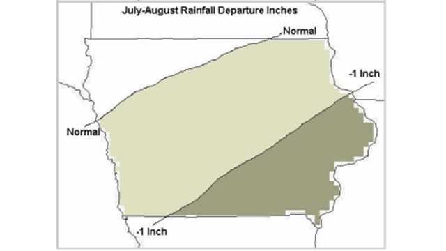 July-August rainfall departure in inches.