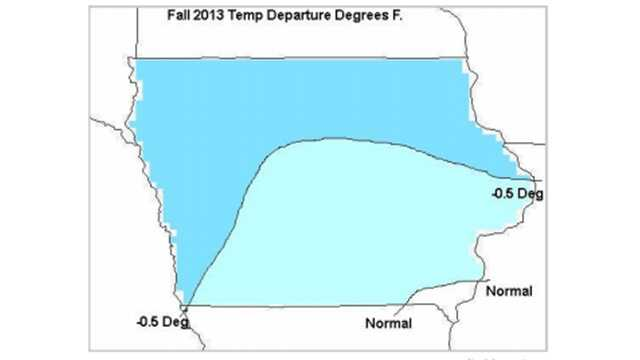 Fall 2013 temperature departure in degrees F.
