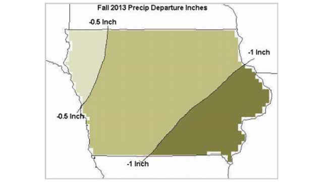 Fall 2013 precipitation departure in inches.