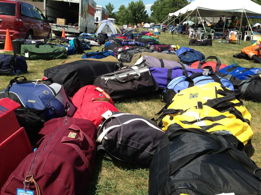 RAGBRAI in Perry. Bags delivered for cyclists to pick up.