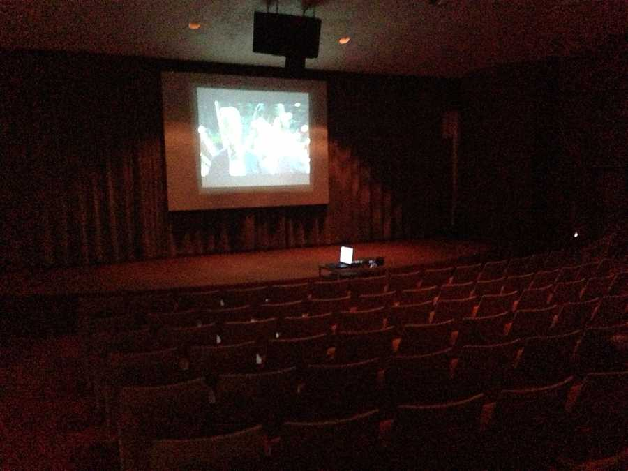 RAGBRAI in Perry. Free movies offered in community center.