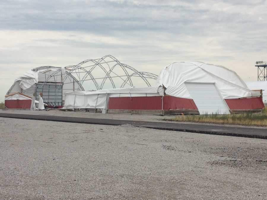 Storm damage at Central Iowa Expo grounds near Boone.