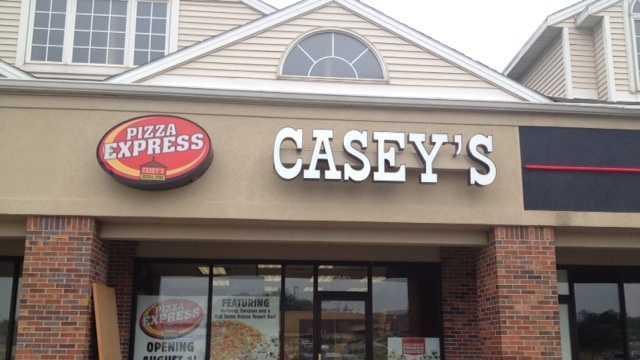 Caseys pizza only shop exterior