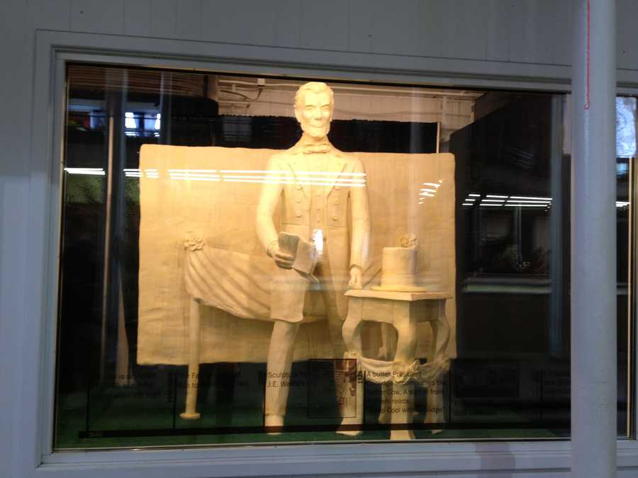 Butter sculpture of Ab Lincoln at the Iowa State Fair.
