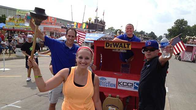 The KCCI team wins the Outhouse Race at the Iowa State Fair.