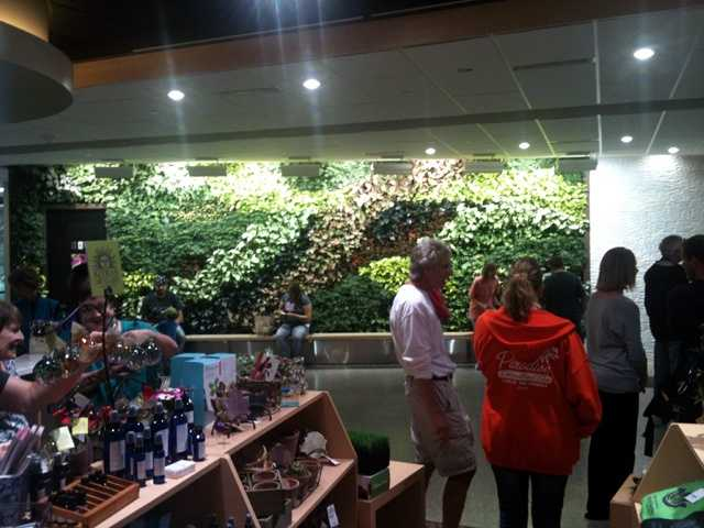 A new living wall greets visitors in the remodeled entry hall.