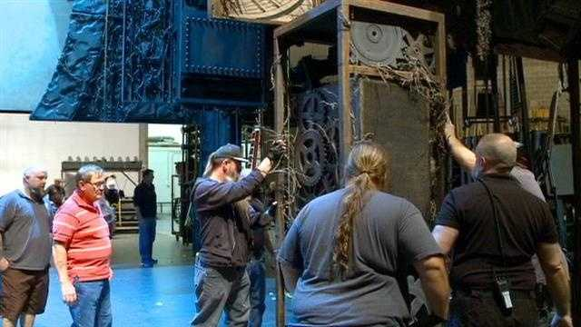 Crews unloading the set for Wicked at the Civic Center.