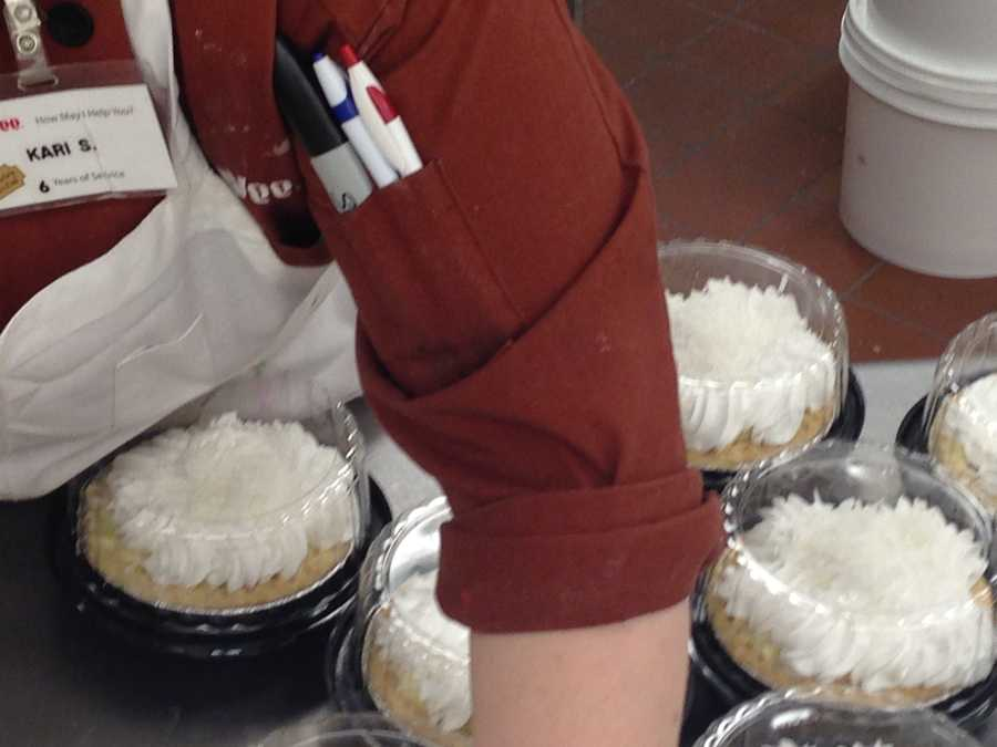 Hy-Vee gets ready for the holiday by making dozens of pies.