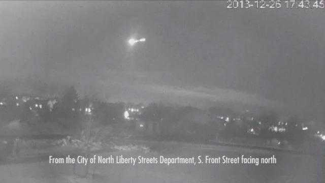 A meteor streaks across Iowa, captured on video by a North Liberty city camera.