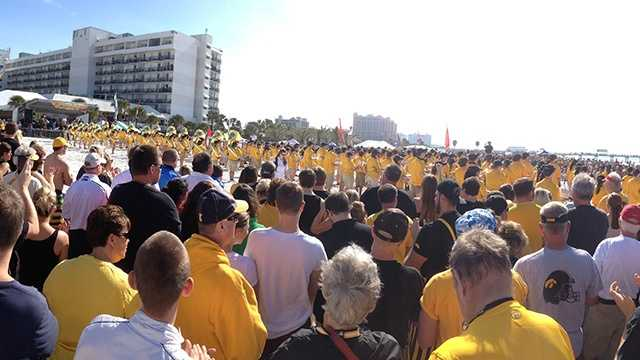 Hawkeye fans hit the beach in Florida.