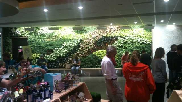 The Botanical Garden's new living wall exhibit and gift shop.