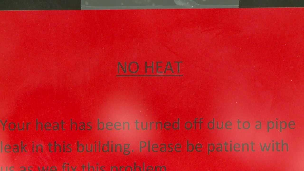 An apartment building is working to get heat back on after a boiler breaks.