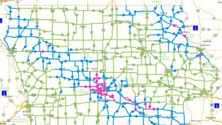 New colors will be added to Iowa DOT's road conditions map this year.