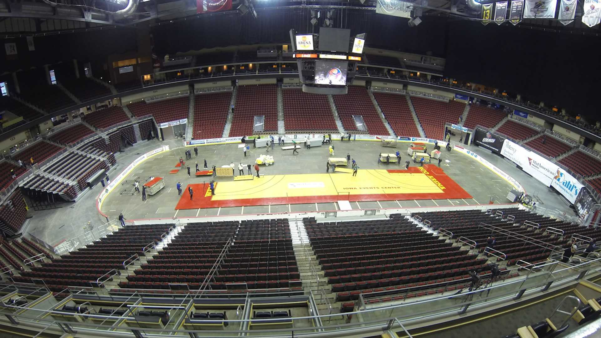 Time lapse video: workers had just hours to transform the arena from a hockey rink to a basketball floor. KCCI's Erin Hassanzadeh has the complete story tonight at ten.
