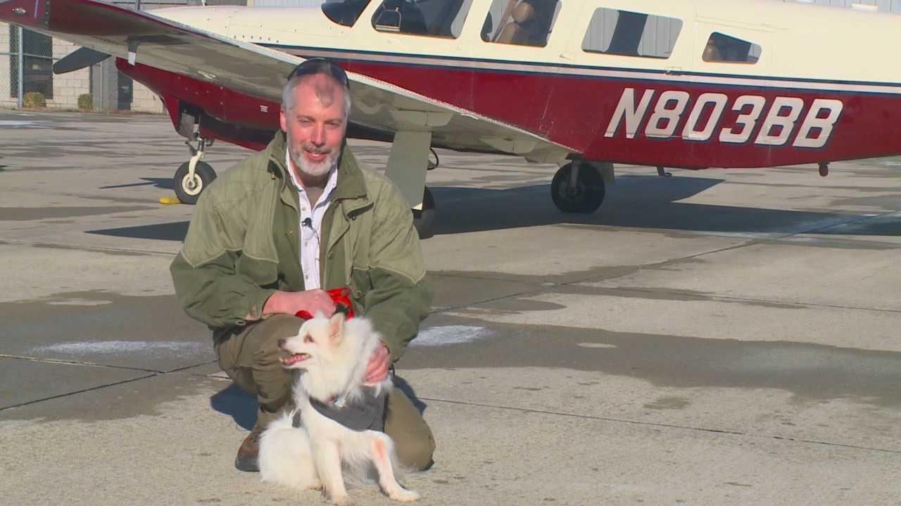 An unusual special-needs dog landed at the Ankeny airport Sunday as part of a program called Pilots and Paws.