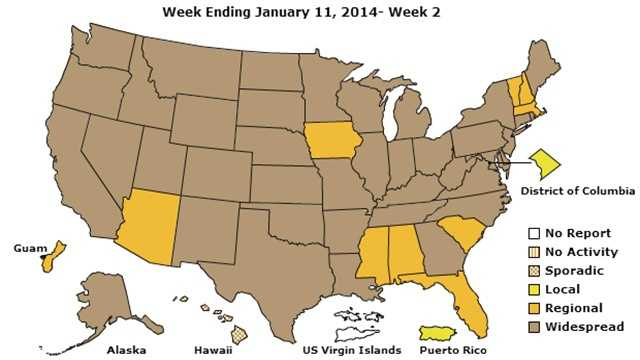 Centers for Disease Control showing widespread flu cases in brown, regional in yellow.