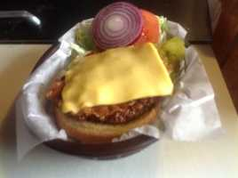 Cheeseburger at the Elms Club in Creston.