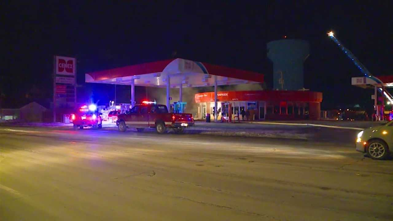 Fire crews were called to a fire at a gas station late Thursday night.