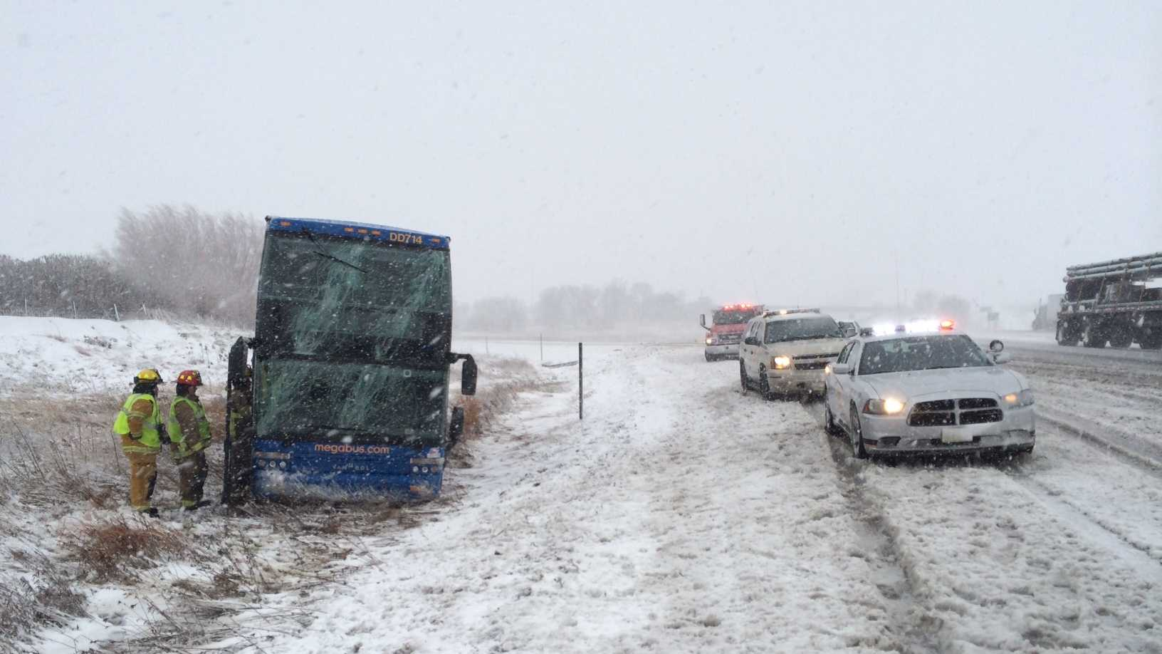 A Megabus crashes on Interstate 80.