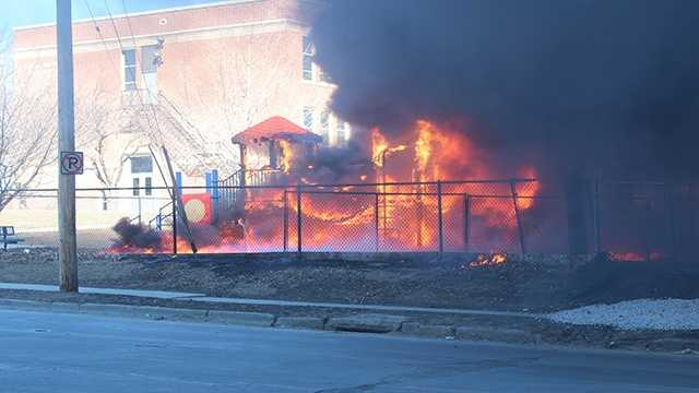 Playground on fire at Park Avenue Elementary in Des Moines.