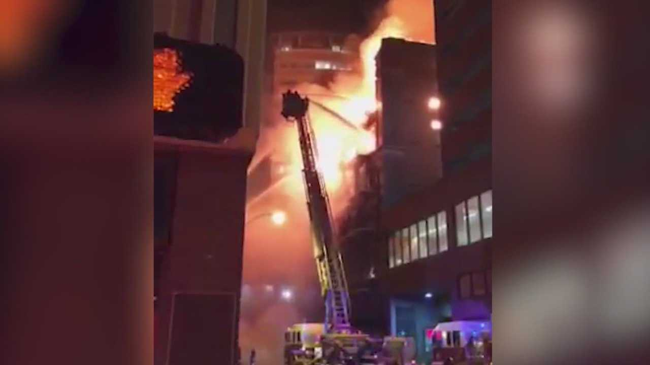 A historic downtown Des Moines building being renovated catches fire early Saturday.