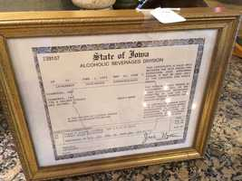 The liquor license from the Tea Room from 1995.