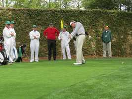 Mike McCoy tees off at the 2nd hole of Augusta National Golf Club.