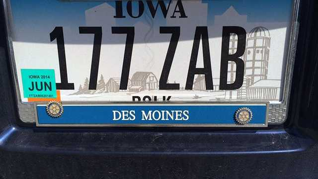 License plate county name covered