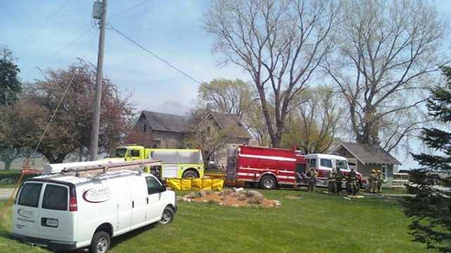 Crews fight house fire near Dallas Center